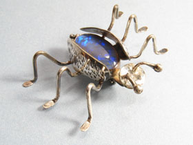 Silver & Opal Bug Pin by Brad Smith