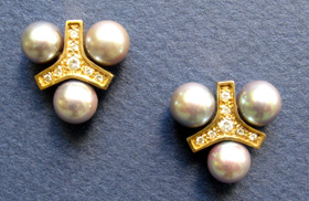 Gold & Pearl Earrings by Brad Smith