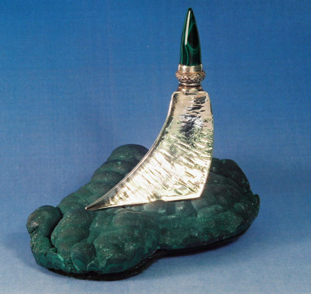 Fold Formed Perfume Bottle on Malachite by Brad Smith
